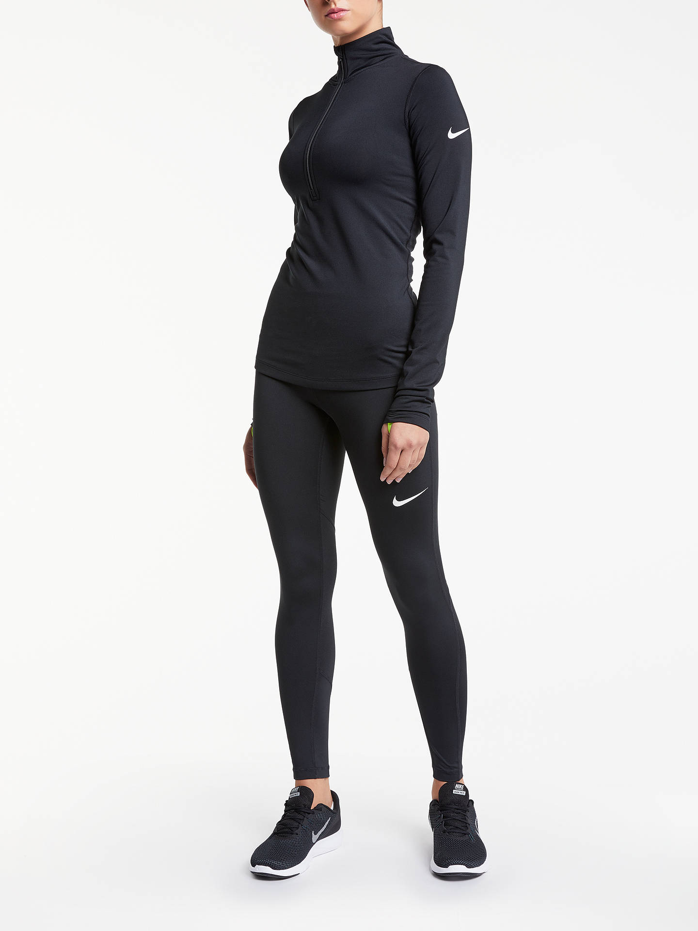 6c0f6085fcedb1 ... Buy Nike Pro Training Tights, Black/White, M Online at johnlewis.com ...