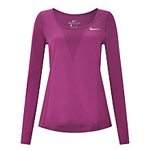 Buy Nike Zonal Cooling Relay Long Sleeve Running Top, Tea Berry Online at johnlewis.com