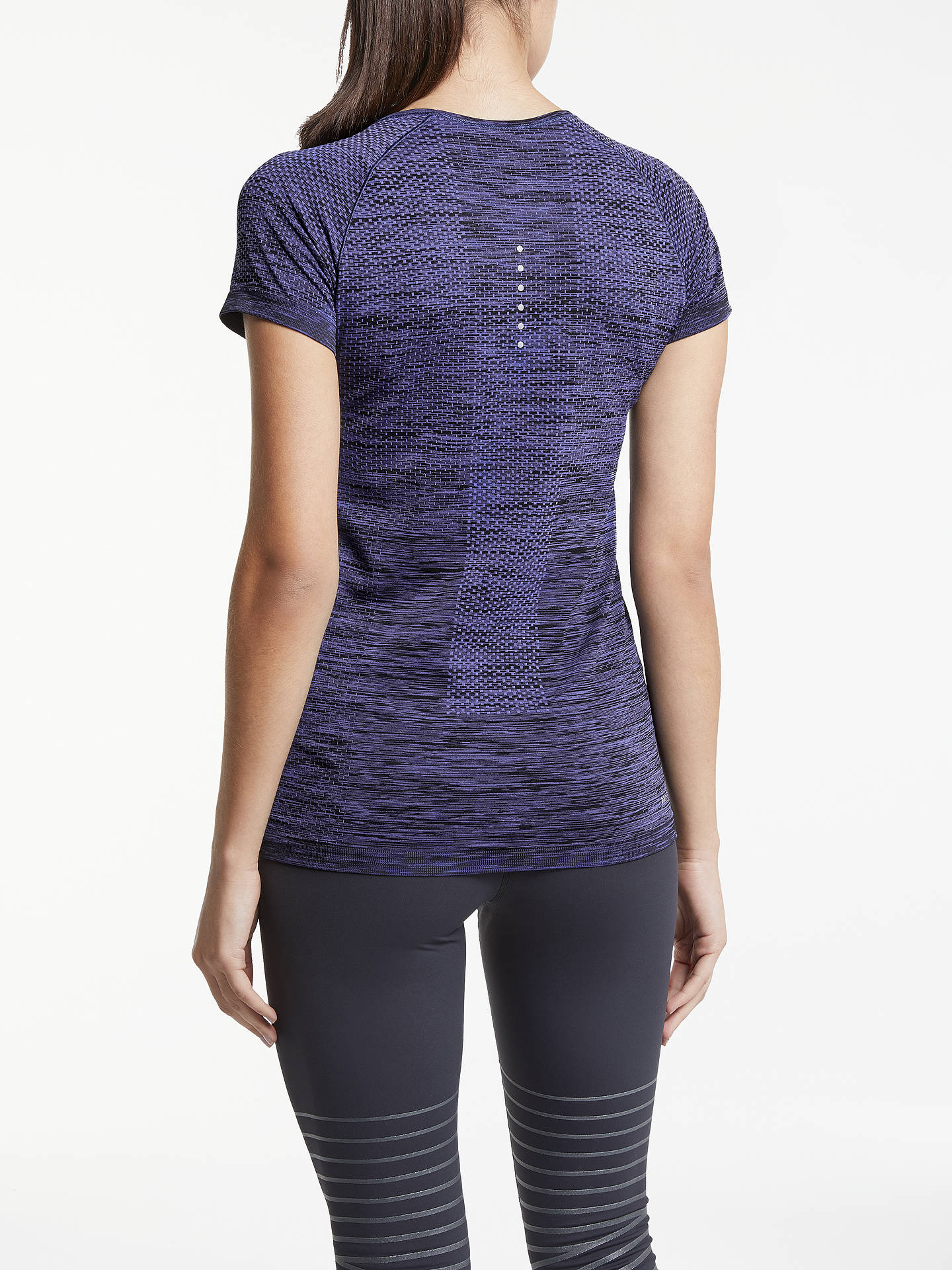 Nike Dri FIT Knit Short Sleeve Running T Shirt, Purple Comet