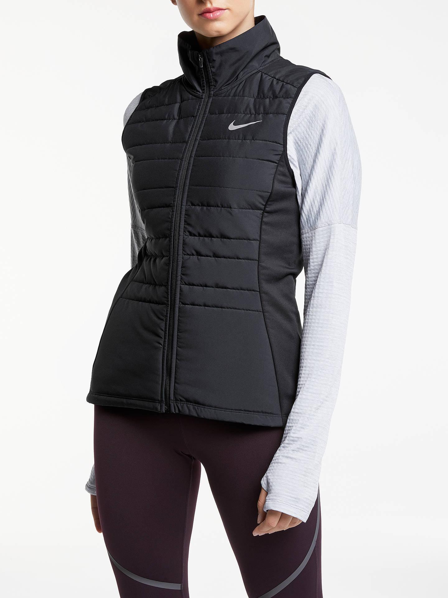 d5b979ad1 Nike Essential Running Zip Vest, Black/Metallic at John Lewis & Partners