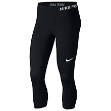 Buy Nike Pro Capri Training Tights, Black/White Online at johnlewis.com