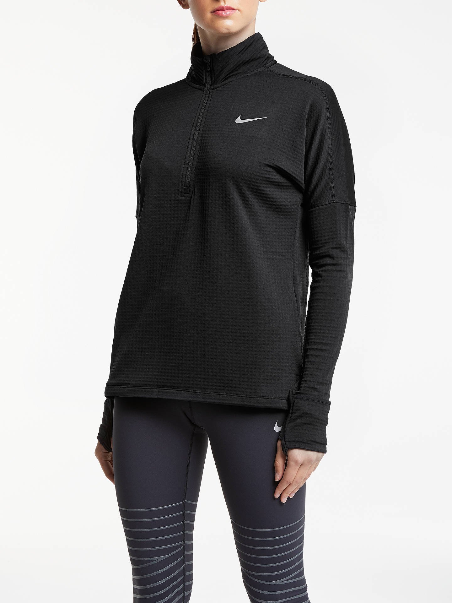 3f06df85 Buy Nike Therma Sphere Element Long Sleeve Running Top, Black, XS Online at  johnlewis ...