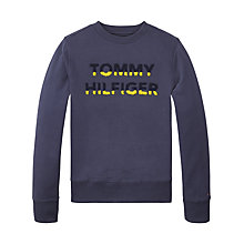 Buy Tommy Hilfiger Boys' Long Sleeve Crew Neck Sweatshirt, Navy Online at johnlewis.com