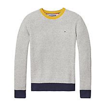 Buy Tommy Hilfiger Boys' Colour Block Jumper, Grey Online at johnlewis.com