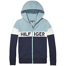 Buy Tommy Hilfiger Boys' Colour Block Zip Through Hoodie, Blue Online at johnlewis.com