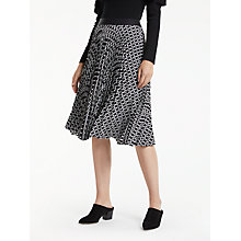Buy Max Studio Pleat Jacquard Skirt, Black/White Online at johnlewis.com