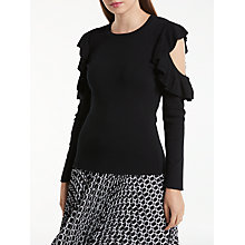 Buy Max Studio Cold Shoulder Frill Jumper, Black Online at johnlewis.com