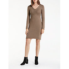 Buy Max Studio V-Neck Textured Knit Dress, Toast Online at johnlewis.com