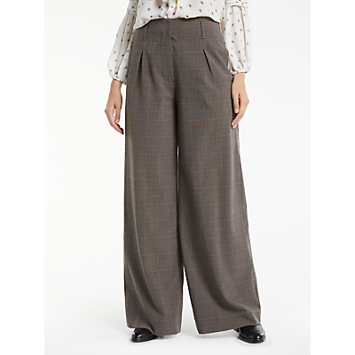 Vintage High Waisted Trousers, Sailor Pants, Jeans Max Studio Wide Leg Check Trousers Beige £70.00 AT vintagedancer.com