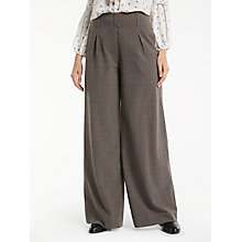 Buy Max Studio Wide Leg Check Trousers, Beige Online at johnlewis.com