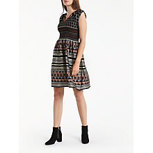 Buy Max Studio Cap Sleeve Jacquard Dress, Black/Rose Gold Online at johnlewis.com