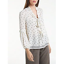 Buy Max Studio Tie Neck Printed Blouse, Ivory Online at johnlewis.com