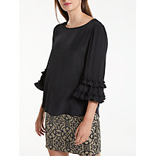 Buy Max Studio 3/4 Frill Sleeve Top, Black Online at johnlewis.com