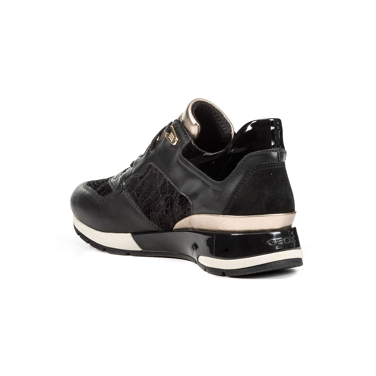 BuyGeox Shahira Breathable Lace Up Trainers, Black/Gold, 3 Online at johnlewis.com