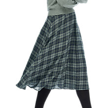 Buy Brora Plaid Midi Skirt, Navy/Pewter Online at johnlewis.com