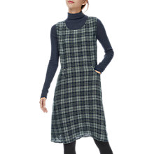 Buy Brora Wool Plaid Pinafore Dress, Navy/Pewter Online at johnlewis.com