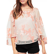Buy Miss Selfridge Sequin Cape Sleeve Top, Coral Online at johnlewis.com