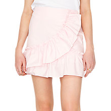 Buy Miss Selfridge Poplin Ruffle Mini Skirt, Pink Online at johnlewis.com