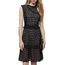 Buy Reiss Abigail Embroidered Midi Dress, Black/Nude Online at johnlewis.com