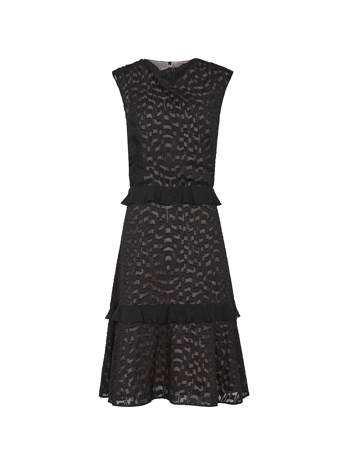 newest collection half off half off Reiss Abigail Embroidered Midi Dress, Black/Nude at John Lewis ...