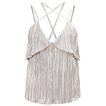 Buy Miss Selfridge Plisse Frill Cami, Metallic Online at johnlewis.com