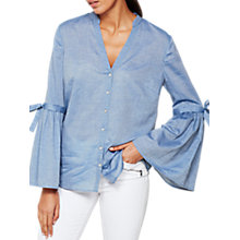 Buy Mint Velvet Chambray Fluted Sleeve Shirt, Light Blue Online at johnlewis.com