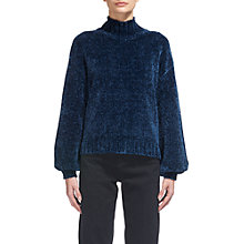 Buy Whistles Chennile Funnel-Neck Knit, Teal Online at johnlewis.com