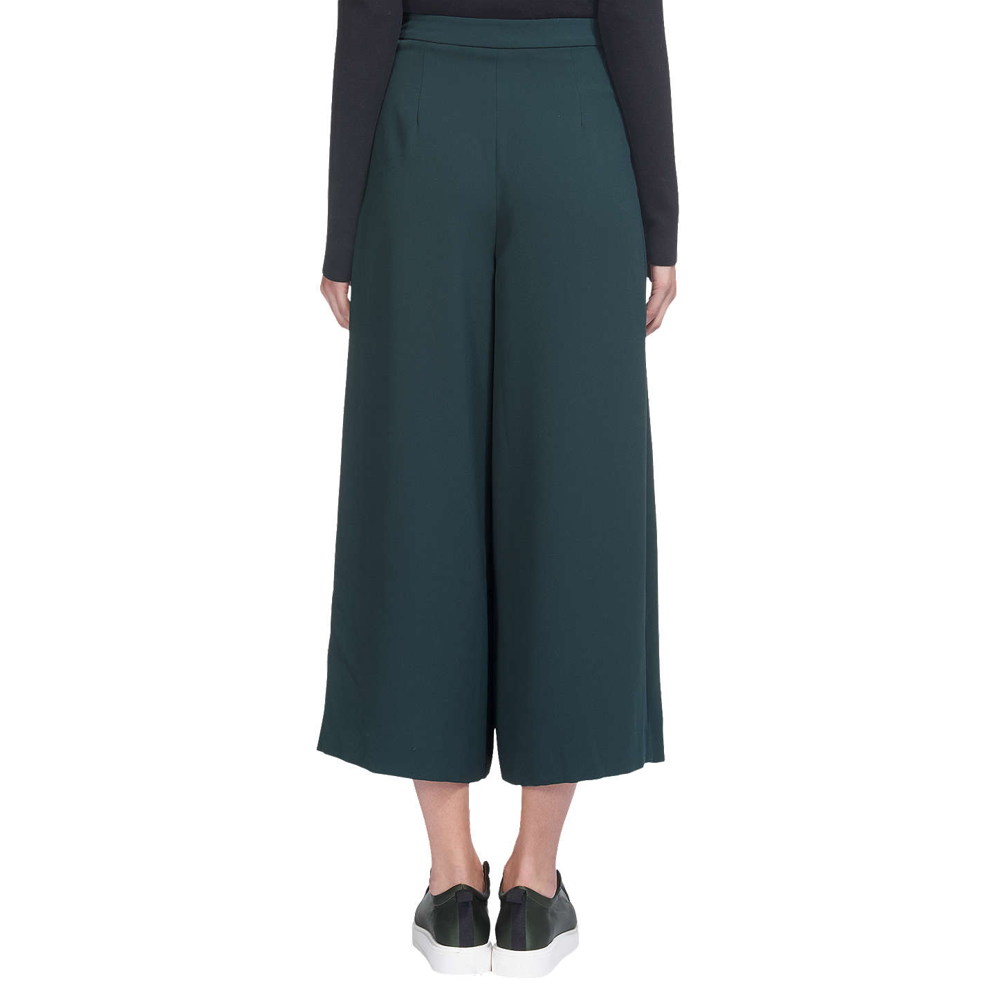 BuyWhistles Pleated Wide Leg Trousers, Dark Green, 6 Online at johnlewis.com