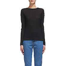 Buy Whistles Lace Shoulder Jumper, Black Online at johnlewis.com