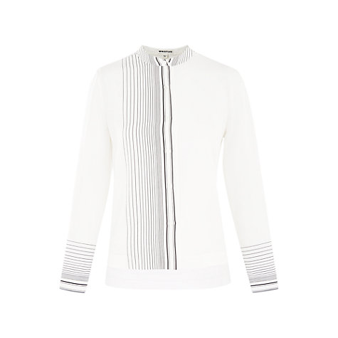Buy Whistles Maisy Stripe Silk Shirt, Ivory/Black Online at johnlewis.com