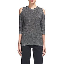 Buy Whistles Cold-Shoulder Knitted Top, Silver Sparkle Online at johnlewis.com