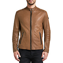 Buy BOSS Orange Jeeper Slim Fit Leather Jacket, Open Brown Online at johnlewis.com