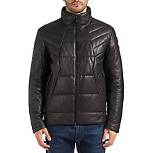 Buy BOSS Green Jamba Leather Jacket, Black Online at johnlewis.com