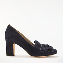 Buy Boden Pippa Block Heeled Loafer Court Shoes, Navy Suede Online at johnlewis.com