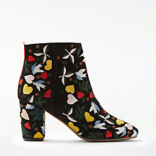 Buy Boden Folk Embroidered Block Heeled Ankle Boots, Black Online at johnlewis.com