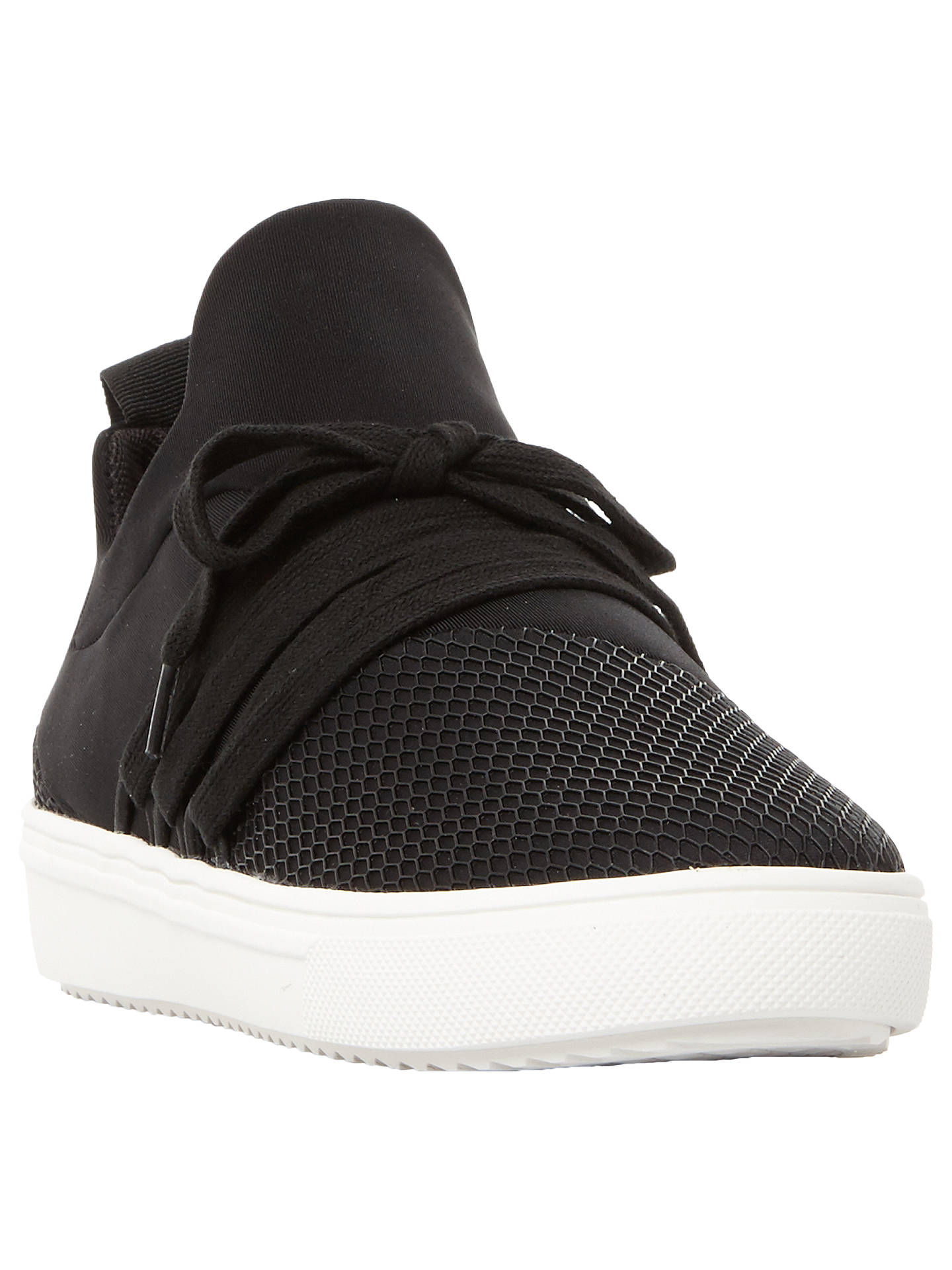 5eef7eb029edf Buy Steve Madden Lancer Mesh Detail Lace Up Perforated Trainers, Black, 3  Online at ...