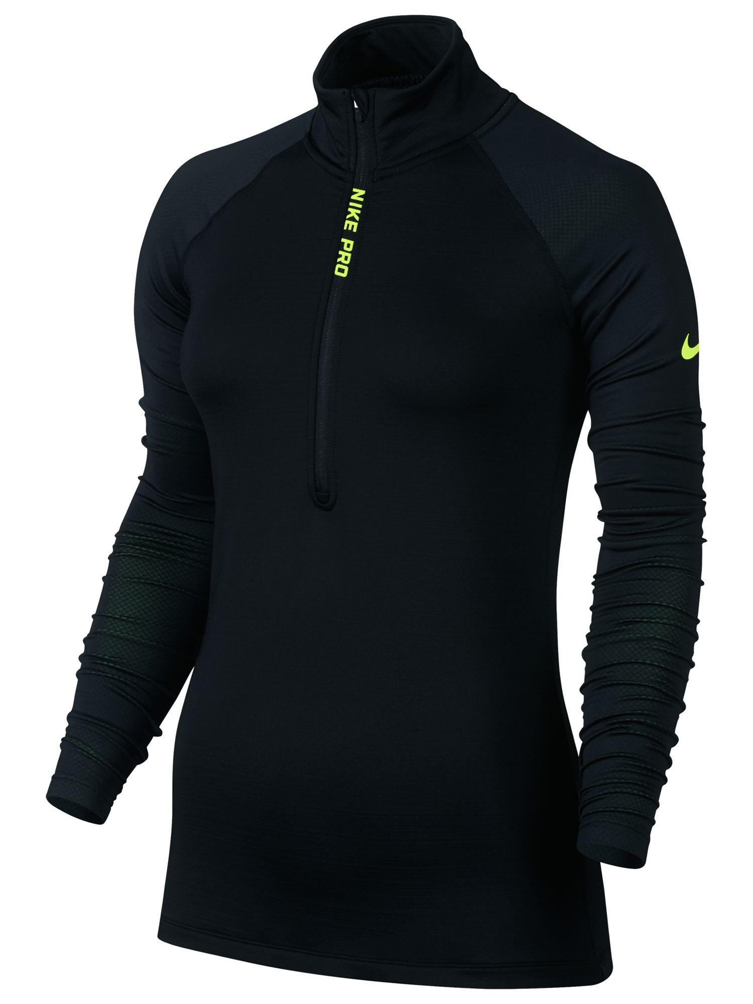 bf2489eff Nike Pro Hyperwarm Half Zip Training Top, Black/Volt at John Lewis &  Partners