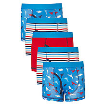 Buy John Lewis Boys' Dinosaur Trunks, Pack of 5, Blue/Red Online at johnlewis.com