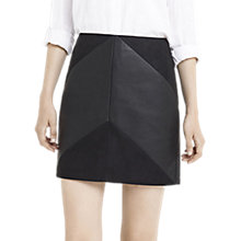 Buy Oasis Faux Leather Chevron Mini Skirt, Black Online at johnlewis.com