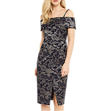 Buy Oasis Jacquard Floral Bardot Pencil Dress, Multi Blue Online at johnlewis.com