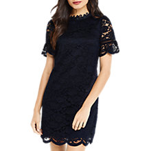 Buy Oasis High Neck Lace Dress, Navy Online at johnlewis.com
