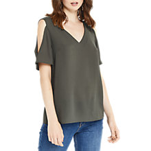 Buy Oasis Cold Shoulder Flute Sleeve Top, Khaki Online at johnlewis.com