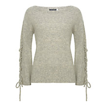 Buy Mint Velvet Lace Up Sleeve Knit Jumper, Neutral Online at johnlewis.com