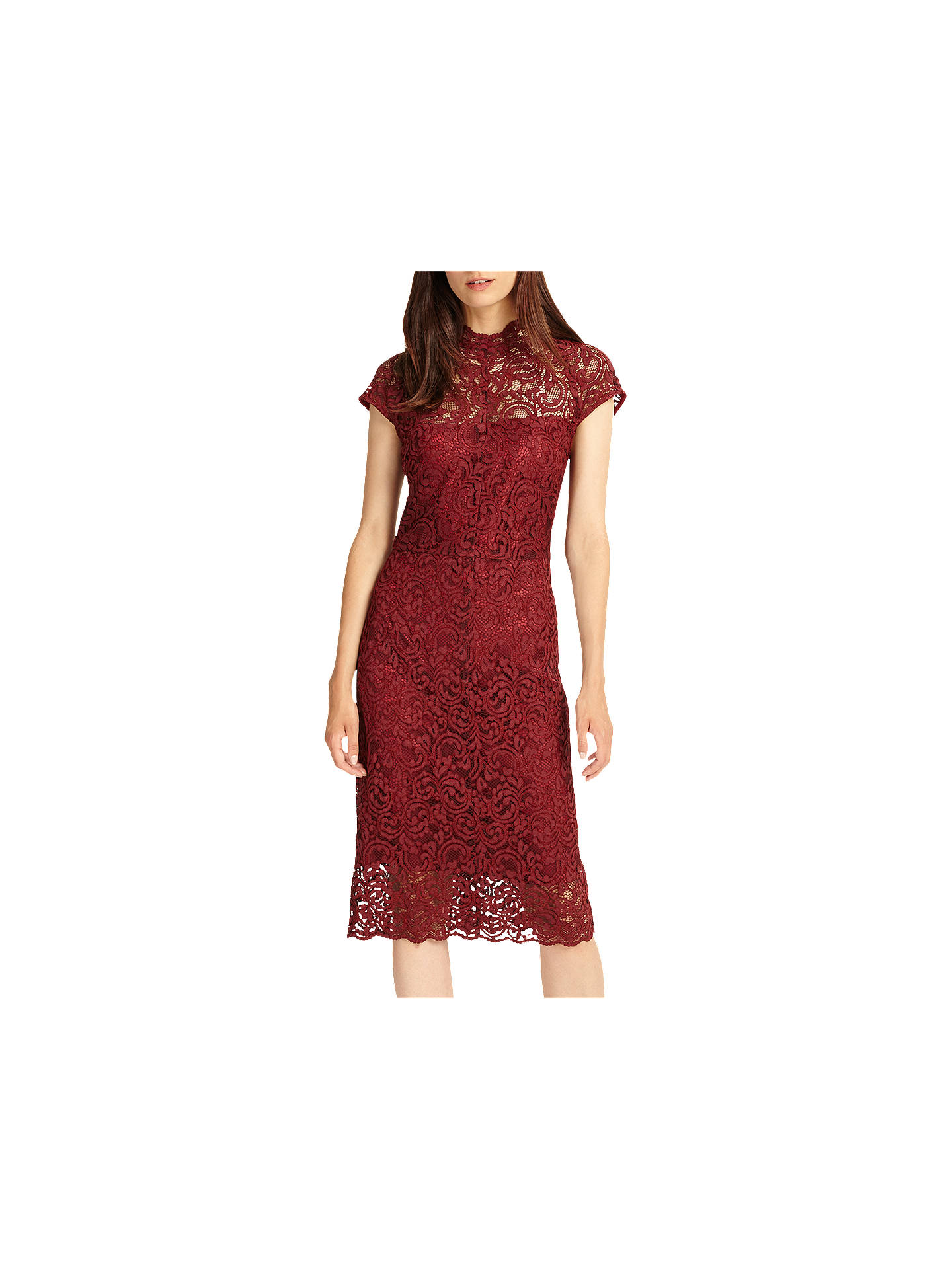 b538cee6f0022 Phase Eight Becky Lace Dress, Claret at John Lewis & Partners