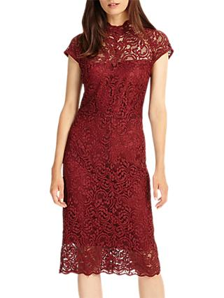 Phase Eight Becky Lace Dress, Claret