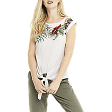 Buy Oasis ZSL Tie Front T-Shirt, Multi/Natural Online at johnlewis.com