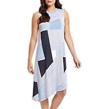 Buy Jaeger Asymmetric Print Stripe Jersey Dress, Blue Online at johnlewis.com