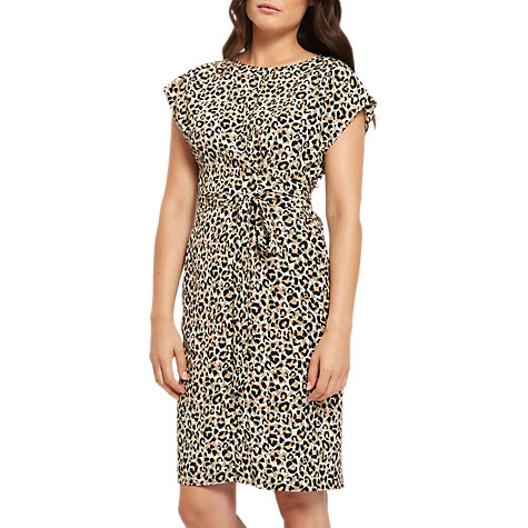 Buy Jaeger Silk Leopard Print Wrap Dress, Ivory/Black Online at johnlewis.com