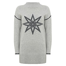 Buy Mint Velvet Felted Star Funnel Neck Tunic Jumper, Light Grey Online at johnlewis.com