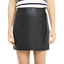 Buy Oasis Faux Leather Seamed Mini Skirt, Black Online at johnlewis.com